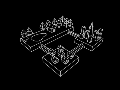Connected Communities monochrome illustration