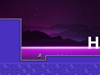 Side Scroller First Attempt retrowave cyberpunk outrun pixel unity unity3d