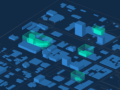 Rendered City Map with Highlighted Buildings