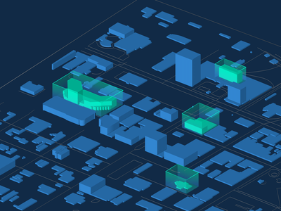 Rendered City Map with Highlighted Buildings cinema4d map city 3d