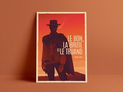 Le Bon, la Brute et le Truand clean texture landscape sky orange characterdesign clint eastwood poster art design illustration