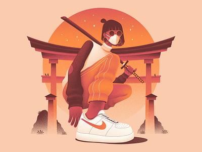 The New Normal streetwear nike air nike sneakers character illustration characterdesign texture samurai orange design illustration
