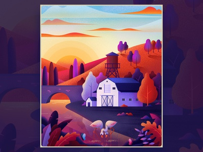 Morning texture sunrise landscape purple orange color art nature design illustration
