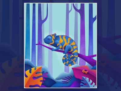 Chameleon animal trees blue chameleon texture design nature purple color art illustration