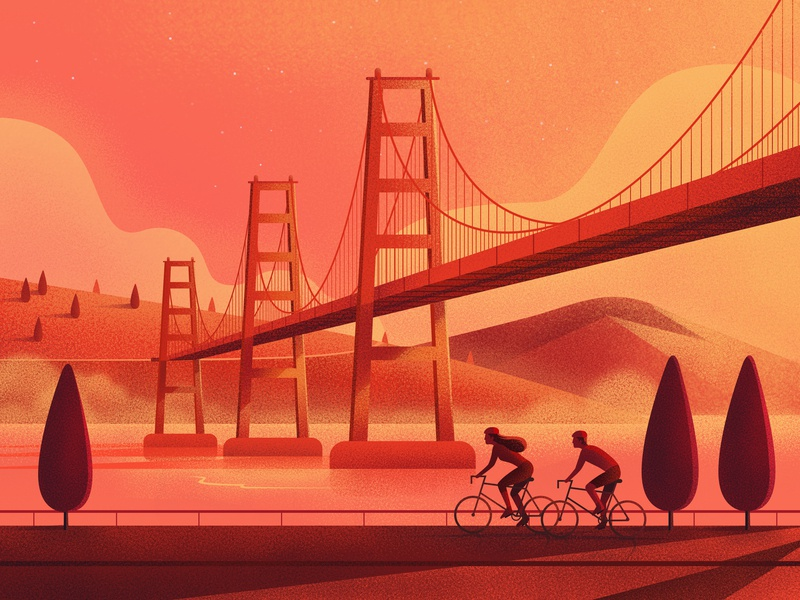 Summer cycling color nature texture design art illustration