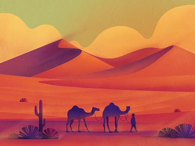 Dunes camel sky sand dunes art nature design texture illustration