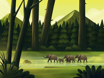 Woods design nature green wild elephants texture art illustration