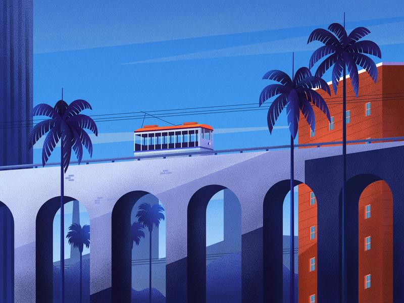 Trolley clean sky urban nature texture design art illustration