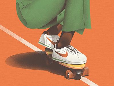 Skate I orange skateboarding skater skateboard clean texture design art illustration