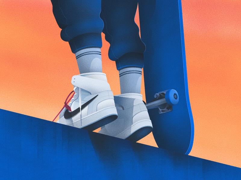 Skate II skateboard skater skate blue sky orange clean texture art illustration design