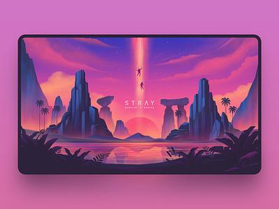 Stray river space nature cover art landscape sky purple art texture design illustration