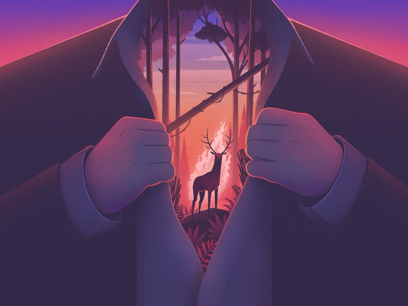 Spirit animal trees landscape deer deer illustration animal purple orange color sky nature texture design illustration