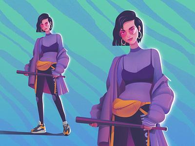Character illustration fashion illustration fashion girl teal yellow character design character purple texture art design illustration