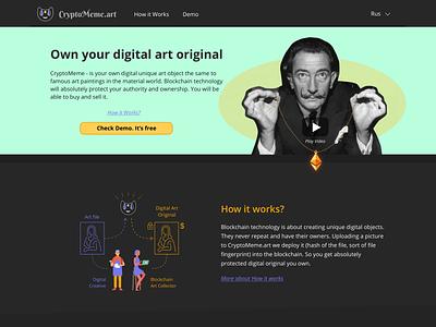 CryptoMeme.art Landing page landing page blockchain