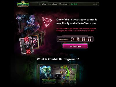 Zombie Battleground Tron Landing blockchain game blockchain lander ui
