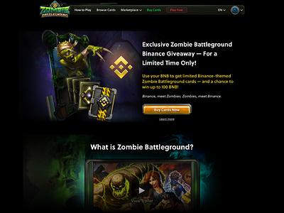 Zombie Battleground Binance Landing blockchain game blockchain lander ui