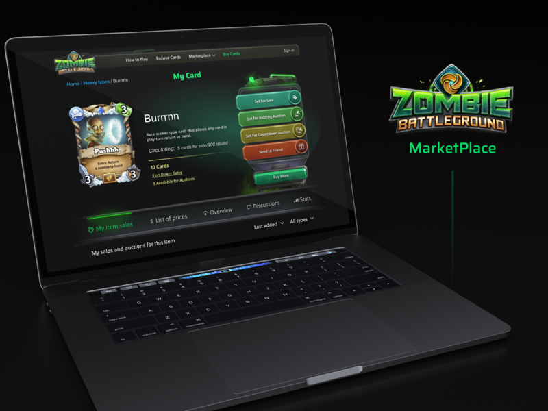 Zombie Battleground Blockchain Game Market Place