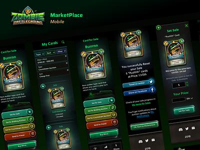 Zombie Battleground Marketplace Mobile ux ui web design blockchain game