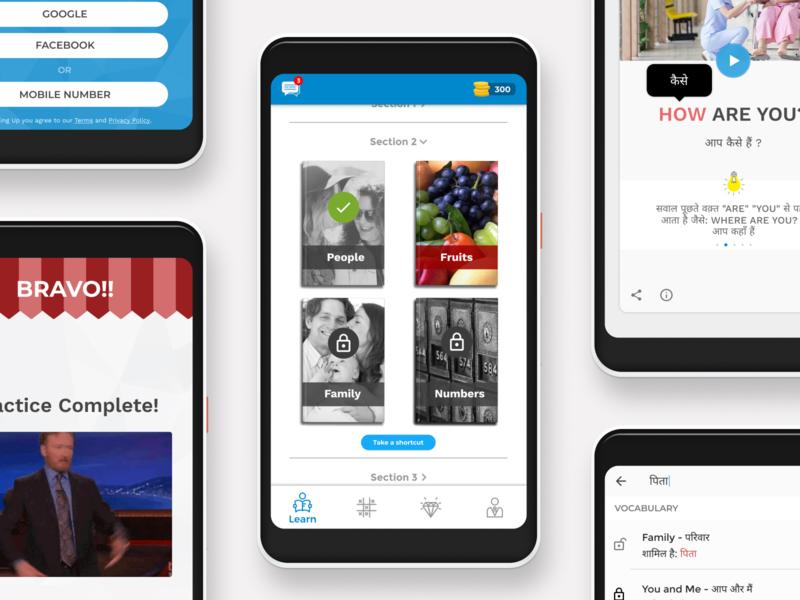 Multibhashi- Language Learning Made Easy language learning design ux multibhashi edtech android