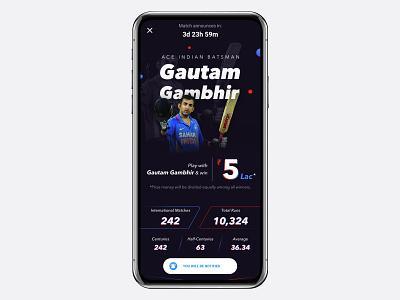 CricPlay- Star Contest with Gautam Gambhir gautam gambhir star contest illustration landing page fantasy cricket cricplay cricket ui design ux