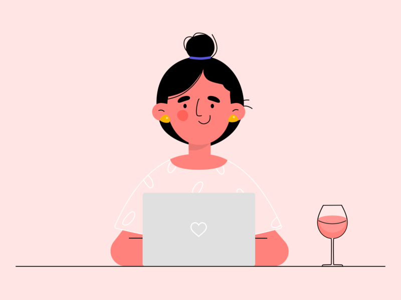 Date night vector invite girl illustration minimal simple colors clean soft dribbble