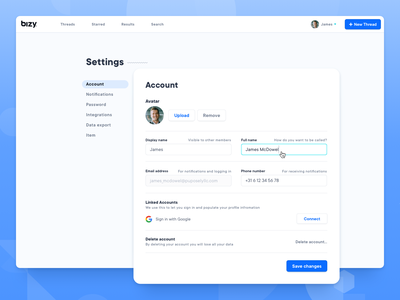 Settings page for Bizy account page account settings settings ui settings page bizy account settings website typography uxdesign uidesign clean web design ux ui sketch design