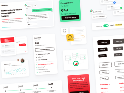 Design Library - Watermelon design ux ui website illustrations snippets pricing buttons call-to-action cta call to action figma figma components design components design library components library