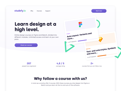 Studefy.io – Learn design at a high level clean website sketch figma learn courses e-learning uxdesign uidesign web design ux ui design