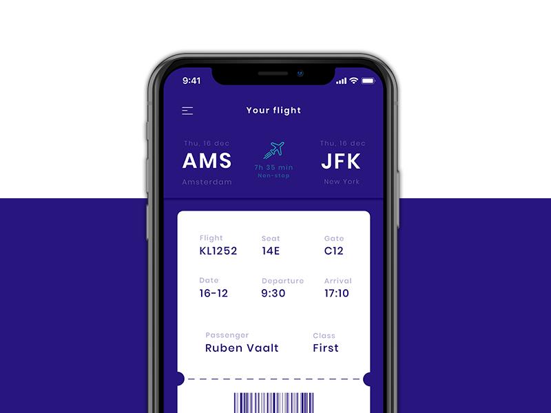 Flight Ticket iOS App - Boarding pass boarding pass ticket flight iphone app apple ios ux ui sketch