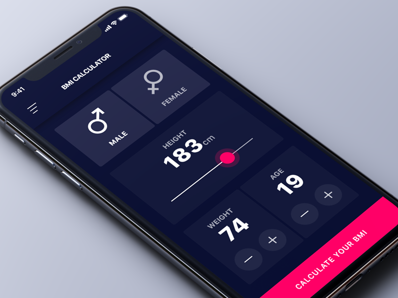 Simple BMI Calculator health red dark simple app ios design ux ui calculator bmi calculator