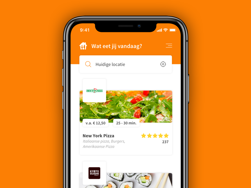 🍴Thuisbezorgd App Redesign apps iphone x design ux ui ios app food takeaway take away thuisbezorgd