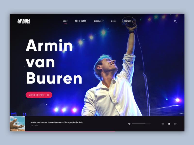 🎶 Armin van Buuren uxdesign uidesign artist armin van buuren typography logo concept clean website web design photoshop sketch ux ui design