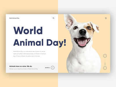 🐶 World Animal Day uxdesign uidesign dog world animal day animal day animal typography concept clean website web design photoshop sketch ux ui design