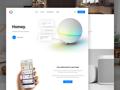 🏡 Homey Landingpage logo design sketch ui ux photoshop clean web design website concept typography uidesign uxdesign homey google home landingpage hero page