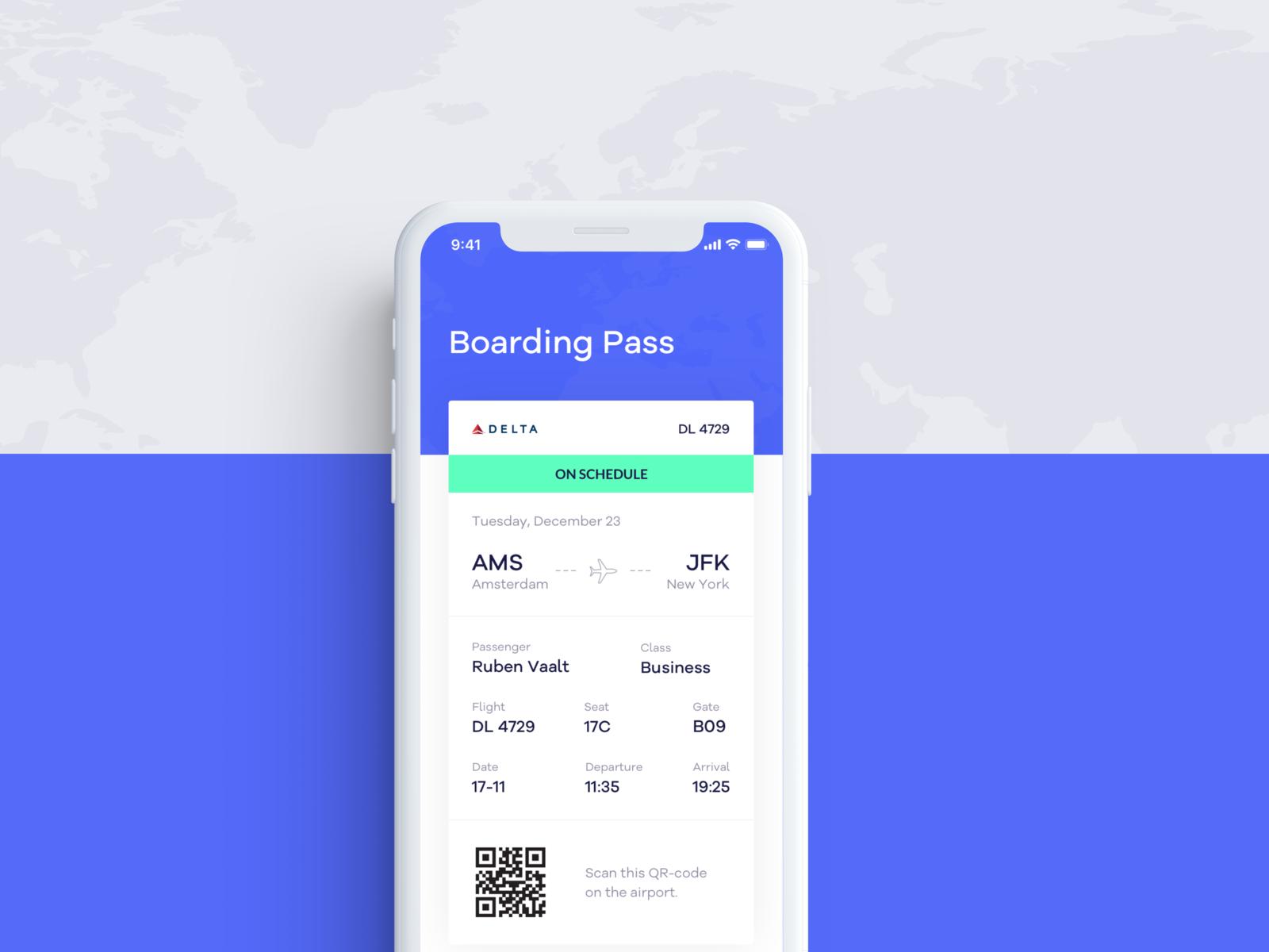 🛫 Flight Booking App - Boarding Pass flight app flight search boarding pass flight iphone apple ios app ios app uxdesign uidesign concept web design clean photoshop ui ux sketch design