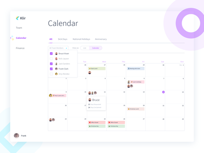 HR Management Calendar - Klir schedule events time off calendar salary tax process shapes card interaction user flow form payment credit card financial payroll webapp app onboarding hr