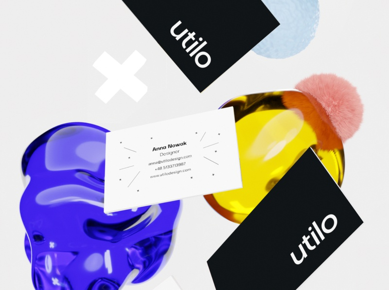Utilo business cards 3d design 3d business card businesscard visual identity branding design mockup illustration branding
