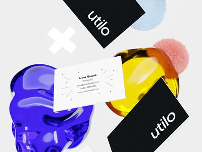 Utilo business cards 3d design 3d business card businesscard visual identity branding design mockup illustration branding