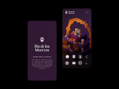 🏵️💀🏵️ AR altar concept website concept website design concept design mobile day of the dead 3d