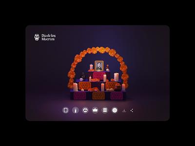 🏵️💀🏵️ AR altar concept vr desktop design website concept day of the dead dia de los muertos blender gamified website design 3d