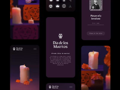 🏵️💀🏵️ AR altar concept day of the dead ux webdesign mobile 3d blender ui motion graphics animation 2d animation after effects