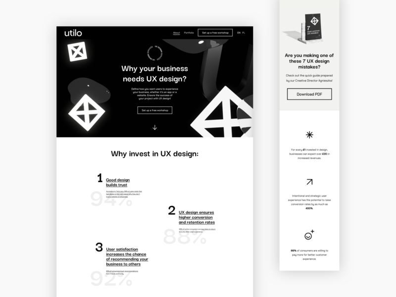 Landing page UX black and white web sketchapp desktop mobile landing page design layout ux ui website design ui  ux