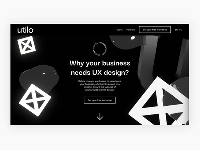 Landing page UX – animation motion graphics interaction motion ui design black and white landing page abstract 3d animation web motion design ux ui