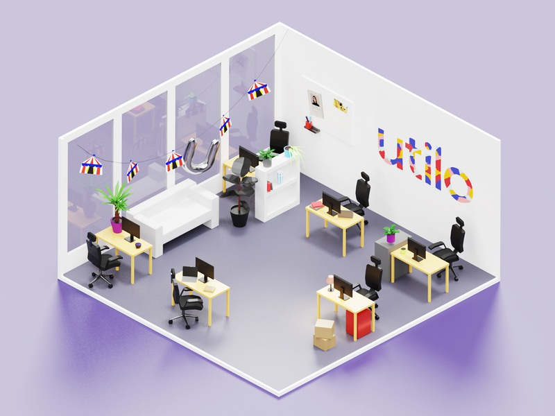 Utilo office design illustration isometric room office interior lowpoly 3d blender