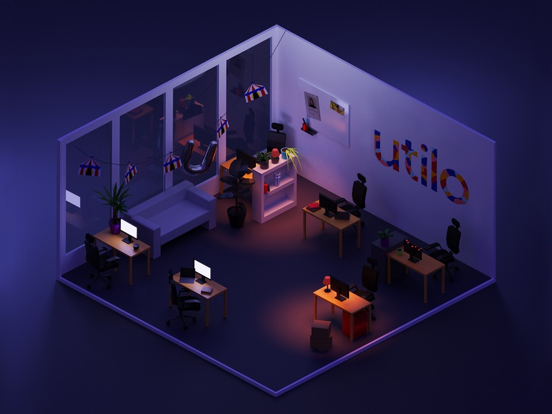 Utilo office - Dark 🌙 dark night interior room isometric blender3d blender illustration 3d
