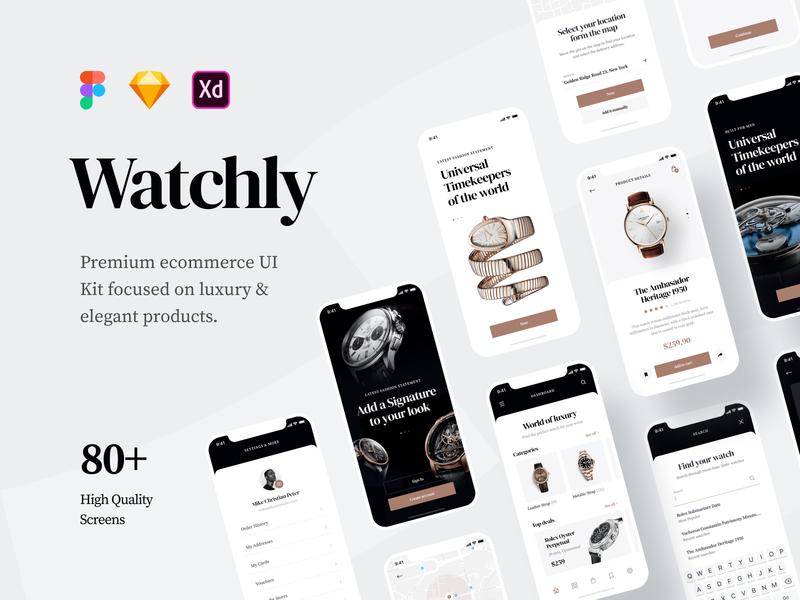 Watchly - Ecommerce UI Kit adobexd xd adobe sketch figma elegant modern luxury product watch uikit kit ui ecommerce store mobileapp mobile appdesign app design