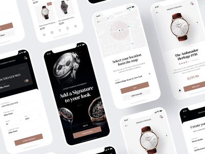 *Watchly* E-commerce iOS UI Kit after effects login theme creative app design watch store modern mobile app sketch figma elegant ecommerce uidesign uikit ui screens animation mobile