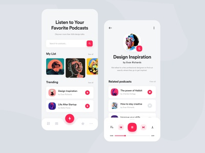 Design Podcasts App Exploration player podcast app design concept ux app creative mobile design ui