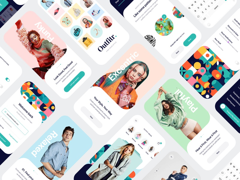 Outfitr - Fashion UI Kit apparel ux ui mobile outfits outfit store shopping register login application fashion design creative colors clothing clean app designer app design app