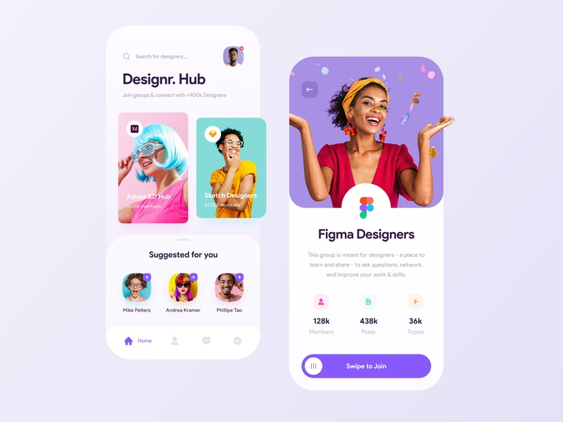 Designr. Hub members search social collaboration figma networking groups connect hub app design concept colors creative app ux design ui product design mobile ui mobile